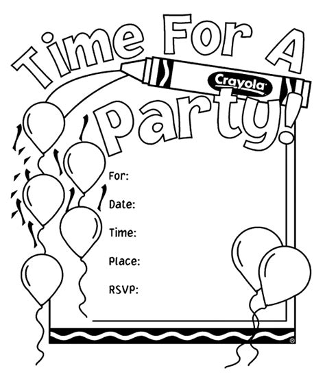coloring card templates birthday invitations coloring page crayola
