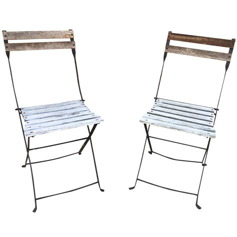 Metal Folding Bistro Chairs Folding Metal Bistro Chairs A Pair Chairish