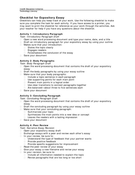 Writing Expository Essay by Expository Essay Checklist Checklist For Expository Essay