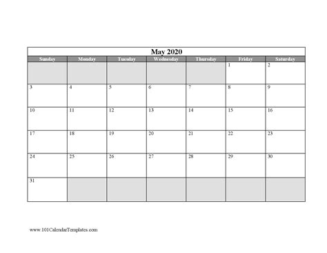 blank calendar templates word excel    month