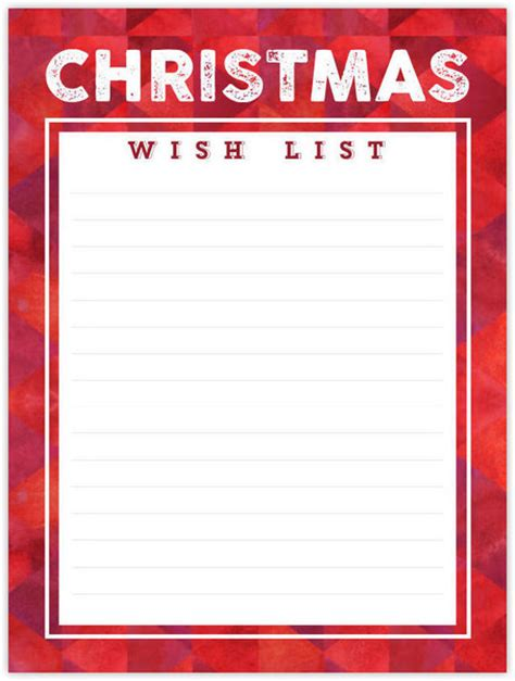 printable christmas list paper red pattern christmas wish list paper pack custom paper