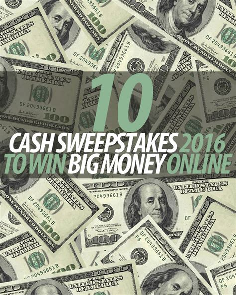 10 cash sweepstakes 2016 to win big money online winzily - Win Money Sweepstakes Online