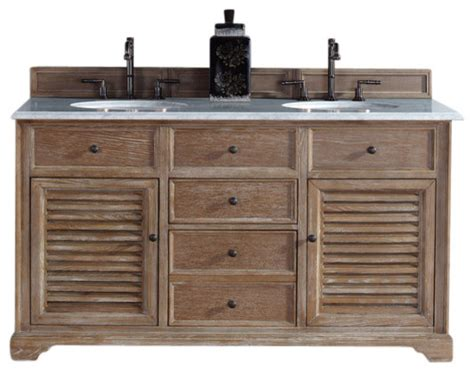 bathroom vanities beach style savannah 60 quot driftwood double vanity with carrara white