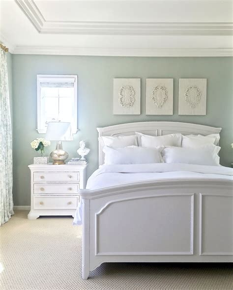 white furniture walls are restoration hardware silver sage gray green blue tranquil spa like feel furniture