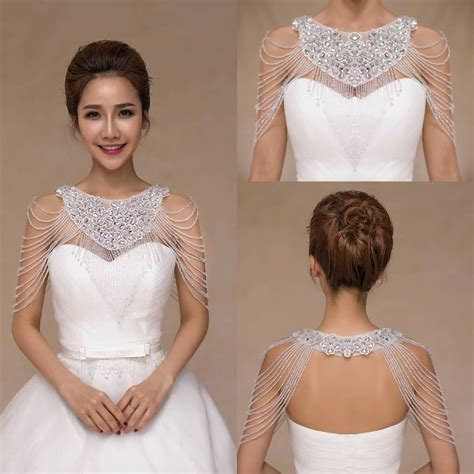 2015 luxurious rhinestone jewelry bridal wraps white lace wedding shawl jacket bolero