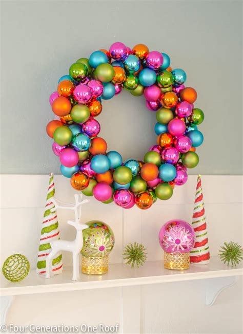 how to make an ornament how to make a wreath using colorful ornaments
