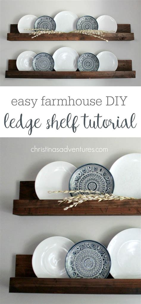 simple diy ledge shelf tutorial farmhouse home decor