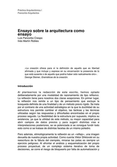 (PDF) Ensayo sobre la arquitectura como ensayo