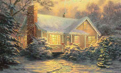 Cottage For New Years by Kinkade Pattern Cottage Painting