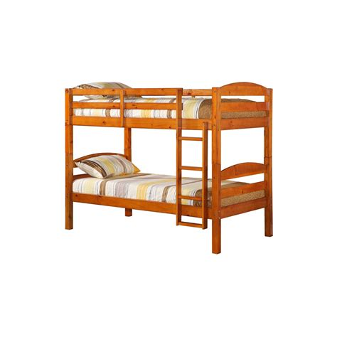 solid wood bunk bed walker edison honey twin over twin solid wood bunk bed
