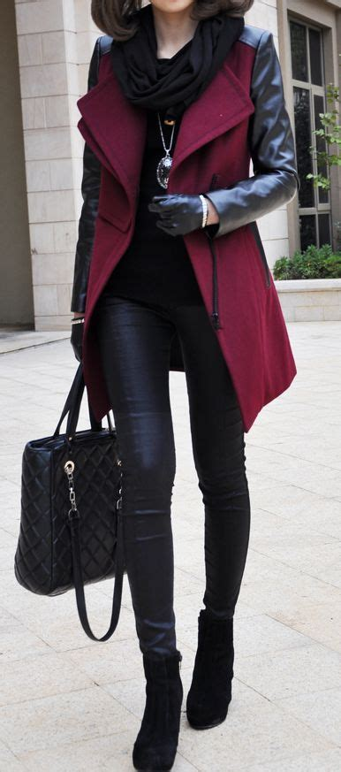 Amel Parka Maroon coat with leather sleeves style by naz