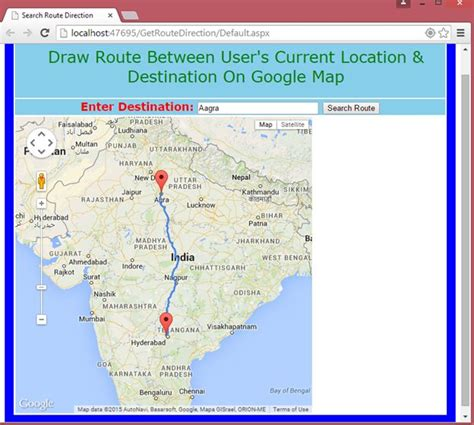 map of current location agra destination