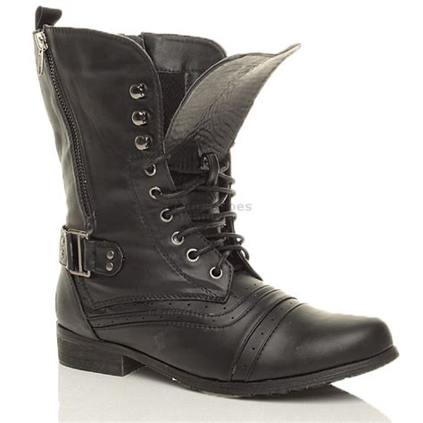 womans combat boots womens brogue combat army lace up boots size ebay