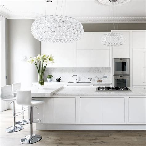 Kitchen Lights Uk White Kitchen With Glamorous Lighting White Kitchen Design Ideas Housetohome Co Uk