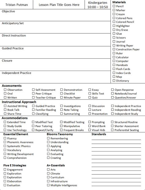 Essential Elements Of Instruction Lesson Plan Template Lesson Plan Template Teacher 1 Stop Free Essential Elements Of Lesson Plan Template