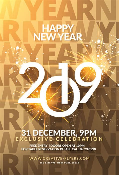 Happy New Year Flyer Template Psd Creative Flyers New Years Flyer Template