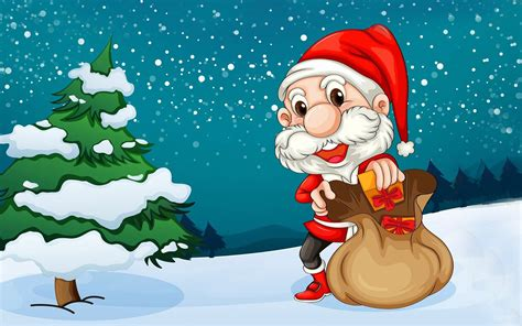 merry christmas santa claus christmas tree cartoon hd wallpaper  desktop