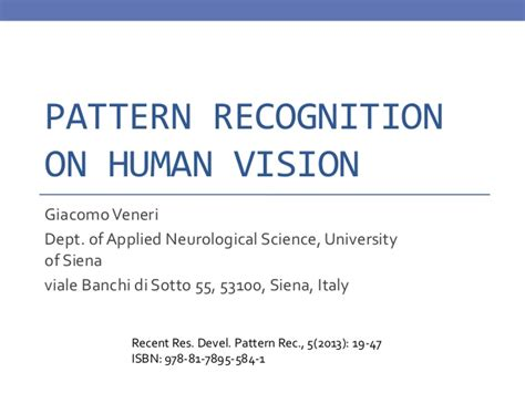 pattern recognition slideshare pattern recognition on human vision