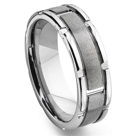 Tungsten Carbide Ring Wedding by Tungsten Carbide Grooved Wedding Band Ring