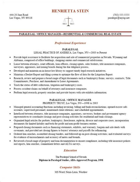 entry level paralegal resume by henrietta stein writing