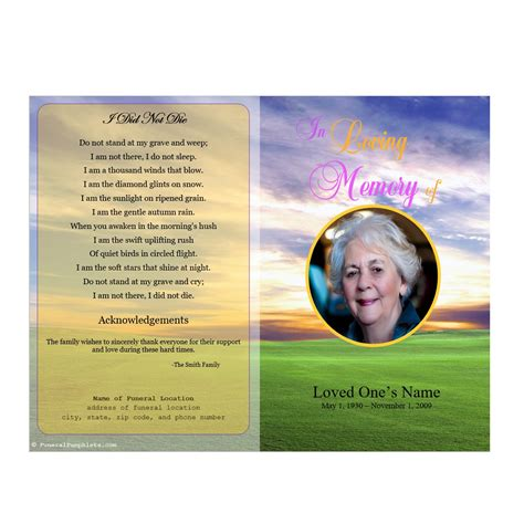 memorial phlets free templates meadow memorial program funeral phlets