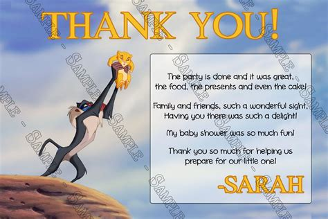 printable lion king thank you cards novel concept designs the lion king a king is born