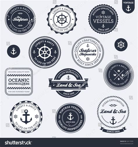 set of vintage nautical sea labels with retro typography set of vintage retro nautical badges and labels stock