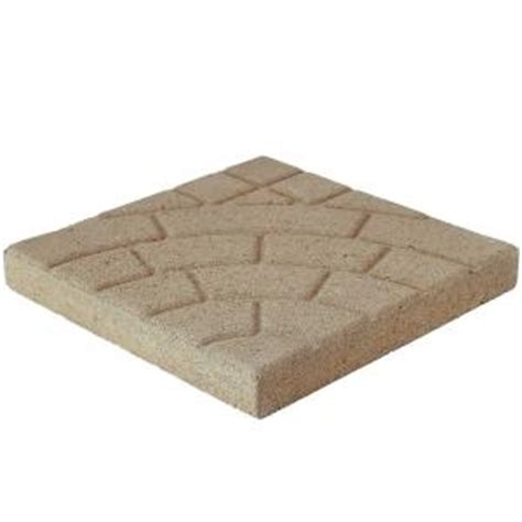 16x16 Patio Pavers Pavestone Cobble 16 In X 16 In Buff Concrete Step 72304 The Home Depot