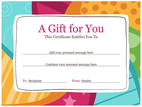 gift card templates microsoft get a free gift certificate template for microsoft office