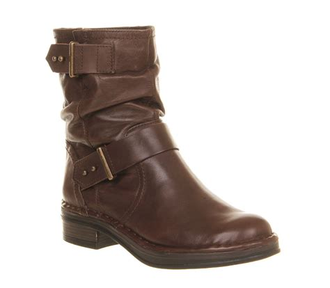 womens ankle biker boots office clamber biker boots brown leather ankle boots