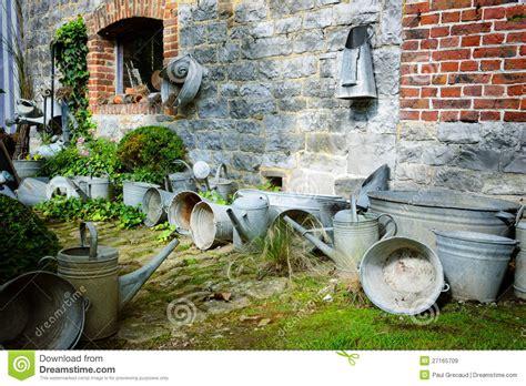 vintage backyard vintage backyard with gardening tools royalty free stock