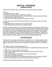Article Essay Format by How To Write A Journal Article Critique In Apa Format Cover Letter Templates