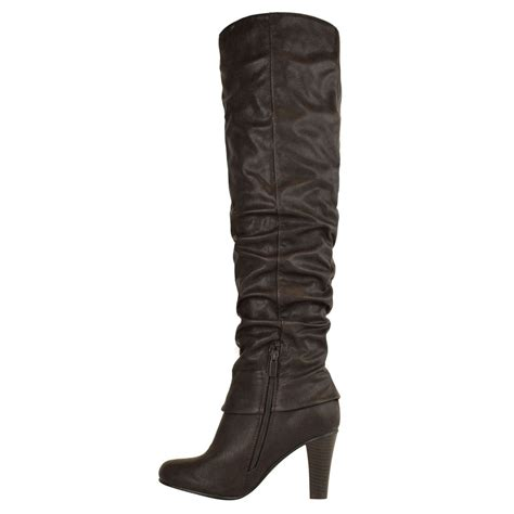 mid heel thigh high boots womens the knee thigh high block chunky mid
