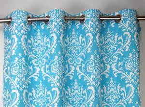 Blue And White Grommet Curtains Girly Light Sky Blue White Osborne Damask Curtains Grommet
