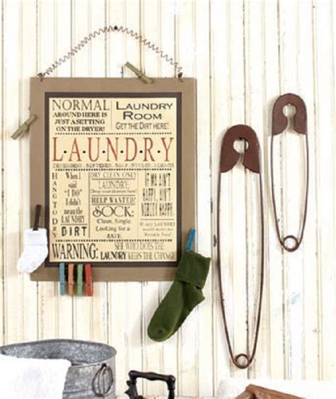 Laundry Room Wall Decor Laundry Room Decor Metal Sign Wall Plaque Set Of Safety Pins Rustic Primitive Ebay