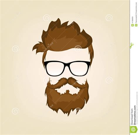 S Hairstyle Glasses Beard by Mustache Beard Glasses Hairstyle Stock Vector Image