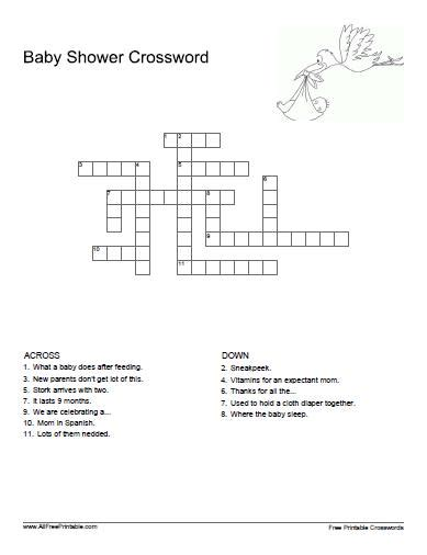 Baby Shower Crossword Puzzle Maker Free by Baby Shower Crossword Free Printable Allfreeprintable