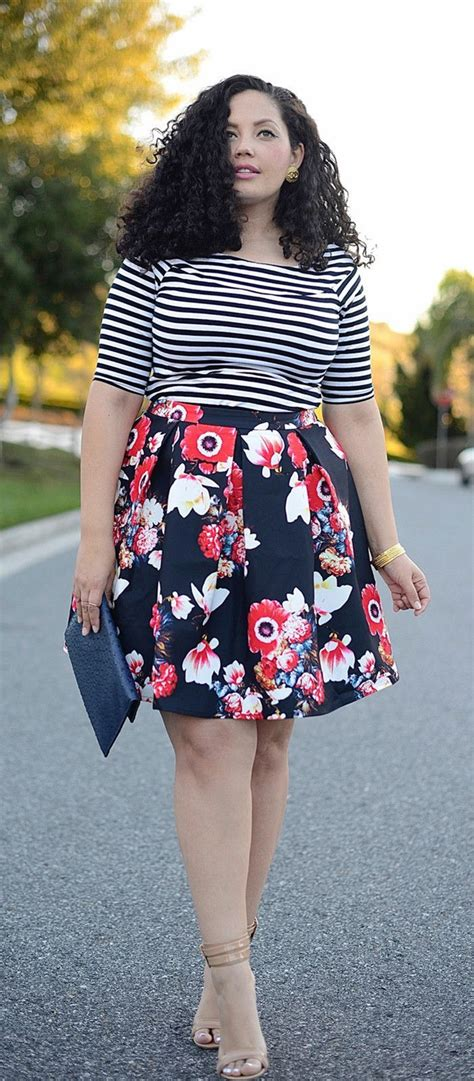 clothes for short heavy women elegant scoop neck striped t shirt and floral printed