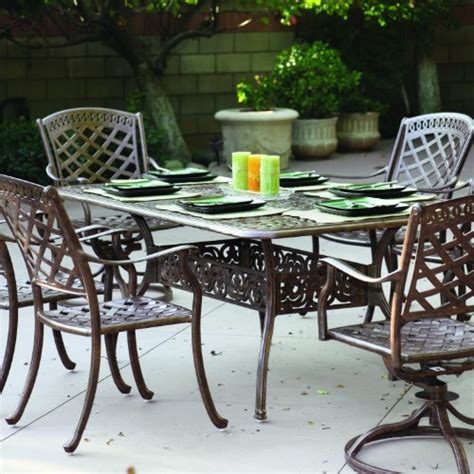 Cast Aluminum Patio Dining Sets Sale Darlee Sedona 6 Person Cast Aluminum Patio Dining Set Antique Bronze Find Sale