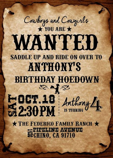 Western Theme Diy Printable Invitation By Brenskreations On Etsy Parties Pinterest Western Western Themed Invitations Templates Free