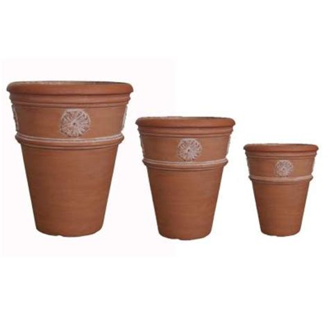 mpg white washed terracotta hardiclay flower pots set of