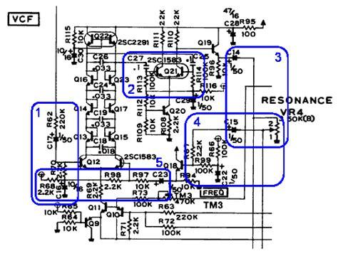 diode ladder filter schematic tim stinchcombe tb 303 diode ladder filter model