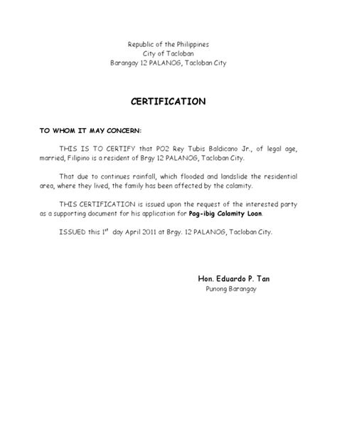 Permission Letter To Barangay Captain Brgy Certification