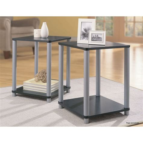 essential home table kmart essential home end tables in black and silver 2 table set shop your way shopping