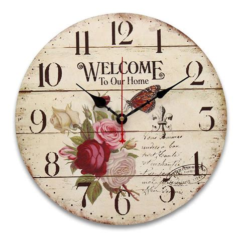 Bloom Blossom Wall Clock Sweet Home aliexpress buy lhll flower butterfly alphabet wood wall clock table
