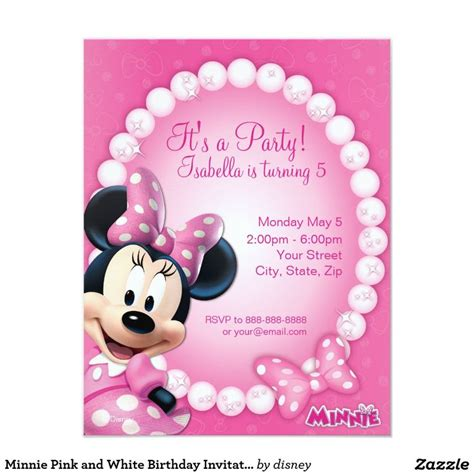 birthday card 5 5 x 8 5 template minnie pink and white birthday invitation 4 25 quot x 5 5