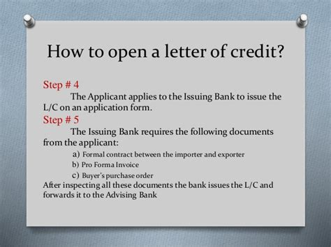 How To Negotiate Letter Of Credit With Bank how to open letter of credit