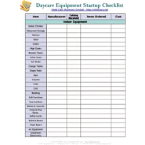 startup equipment checklist