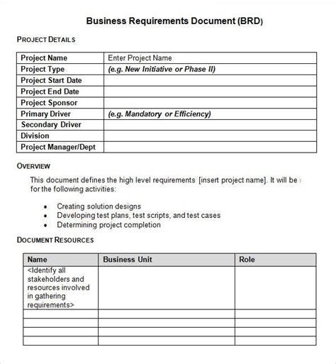sharepoint requirements template sle business requirements document 6 free documents