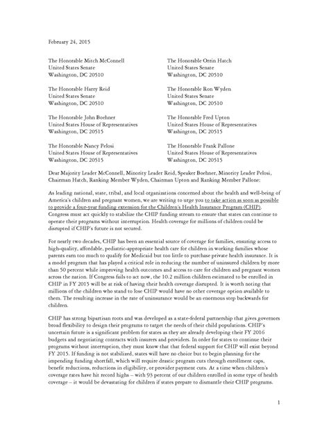 National Insurance Letters 2015 1 500 Organizations Letter To Congress Take To Fund Chip Focus